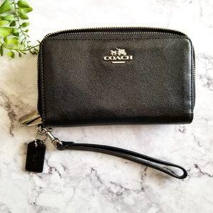 Coach Bags - Coach | Black Leather Double Zip Wristlet Wallet